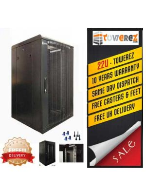 TOWEREZ ® - PREBUILT 22U Server Cabinet 600 (W) x 800 (D) x 1200 (H)  Vented Front Door
