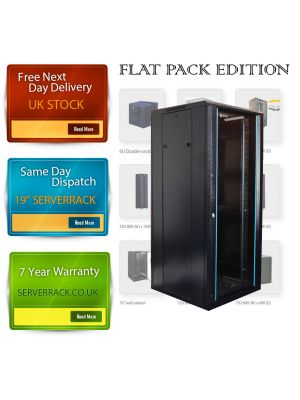TOWEREZ ® FLAT PACK - 22U  Wall Mounted Server Cabinet 600 (W) x 450 (D) x 1200 (H) Glass Front Door Black