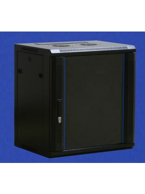 TOWEREZ ® FLAT PACK - 6U Wall Mounted Server Cabinet 600 (W) x 600 (D)x 368 (H) Glass Front Door Black