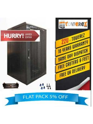 TOWEREZ ® - FLAT PACK 22U Server Cabinet 600 (W) x 800 (D) x 1200 (H)  Vented Front Door