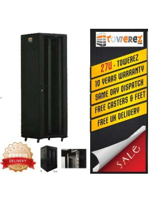 TOWEREZ ® - PREBUILT 27U Server Cabinet 600 (W) x 800 (D) x 1400 (H)  Vented Front Door