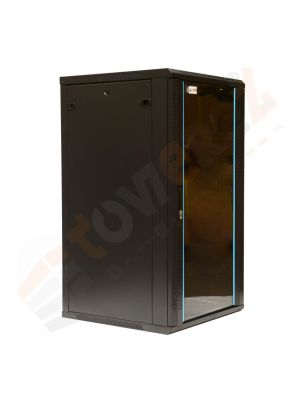 TOWEREZ ® 22U Wall Mounted Server Cabinet 600 (W) x 600 (D)x 1200 (H) Glass Front Door Black